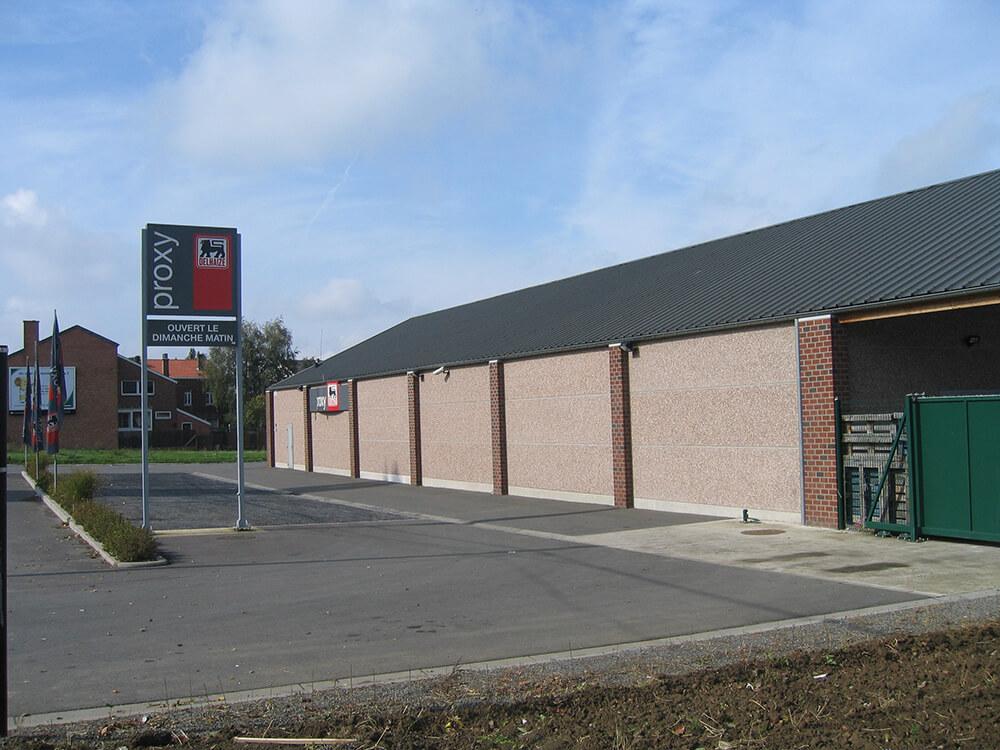 Constructions Louwet SA - Construction de magasin dans la province de Liège - Winkelbouw - Bouwen van winkel gebouwen in de provincie Luik - Construction métallique - Metaalbouw - Colonnes métallique - Stalen kolommen